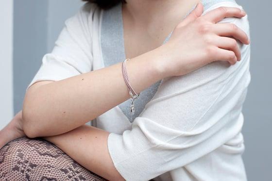 Image of Bracelet deux tours rose poudré argent