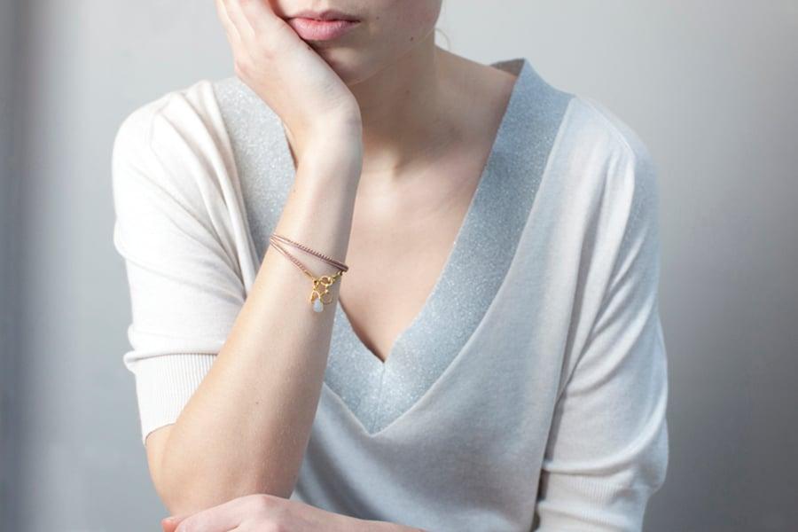 Image of Bracelet deux tours rose poudré doré