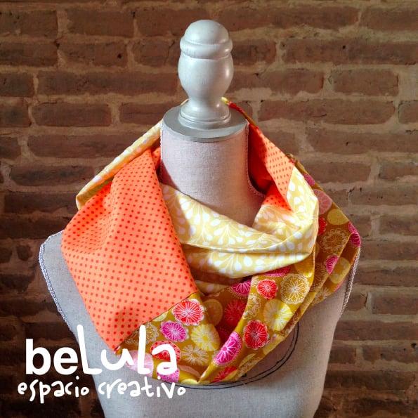 Image of Cuello circular tela: flores naranjas