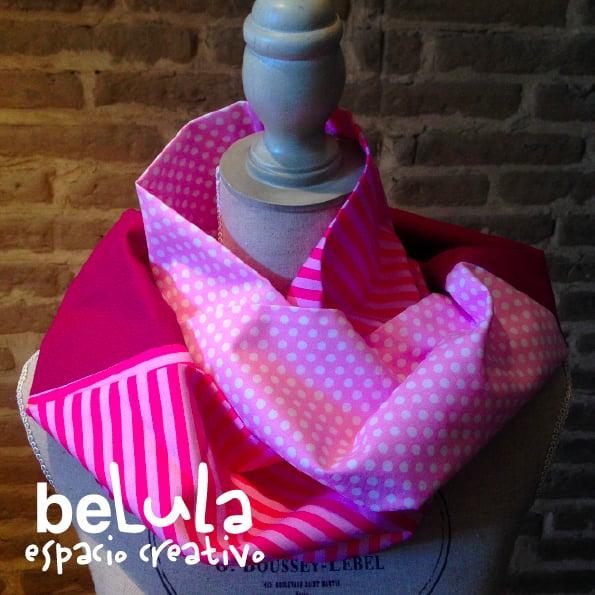Image of Cuello circular tela: rayas rosas