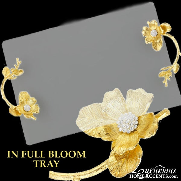 Image of In Full Bloom Glass Tray Gold