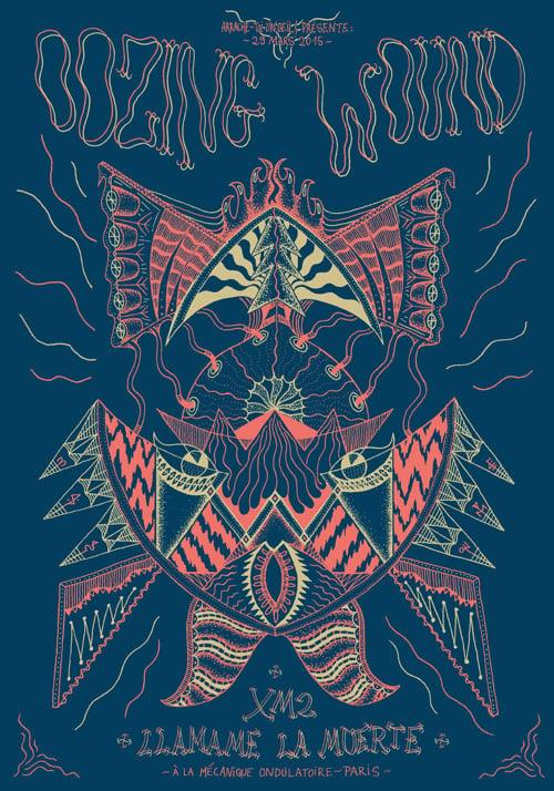 Image of OOZING WOUND + XM2 + LLAMAME LA MUERTE (2015) Screenprinted Poster
