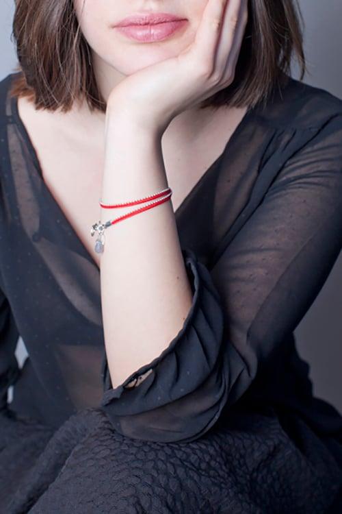 Image of Bracelet deux tours rouge argent
