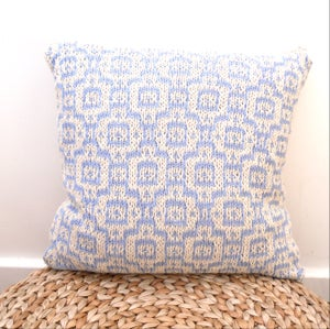 "Image of Cream & blue mosaic tiled cotton cushion cover , hand knit 18"" x 18"" with zip fastening"
