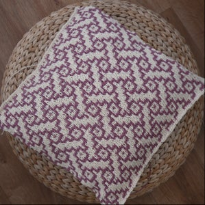"Image of Basket weave hand knit cushion - 18"" x 18"" with zip fastening"