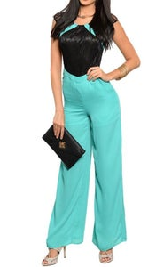 Image of Turquoise Lace Jumpsuit