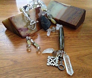 Image of Antique Bakelight cylinder and quarts necklace, bracelet, earring set