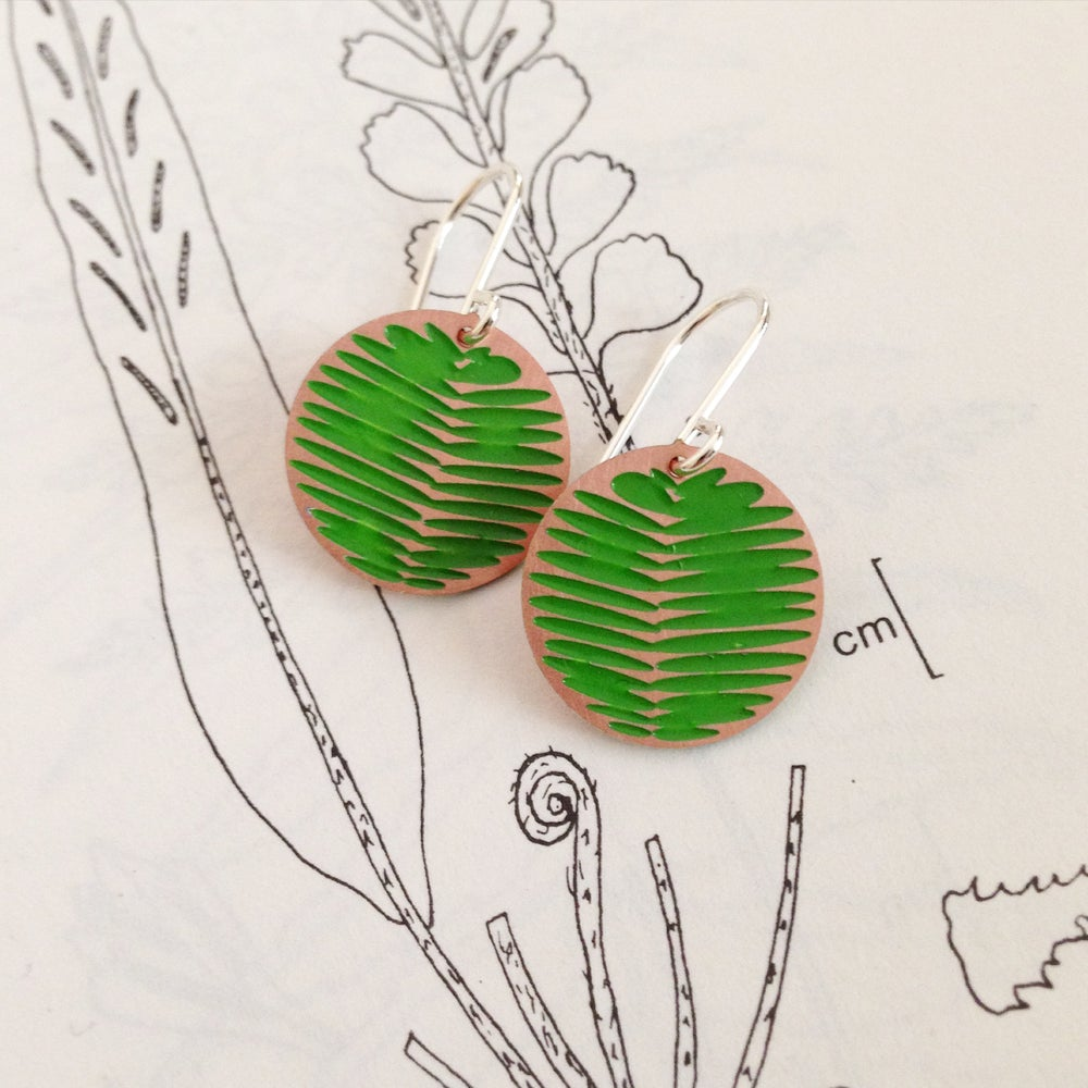 Image of MOON EARRING: FROND (COLOURED METALS)