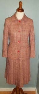 Image of Red Plaid Vintage Celine Skirt Suit