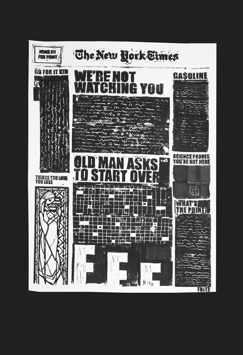 """Black & White Times Print 13""""x19"""""""