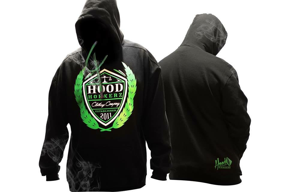 Image of Smokable Hoodie Green Shield Logo