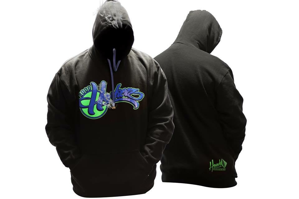 Image of Smokable Hoodie Green and Blue Team logo