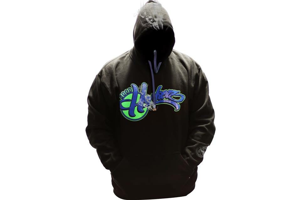 Image of Smokable Hoodie Green and Blue Team logo