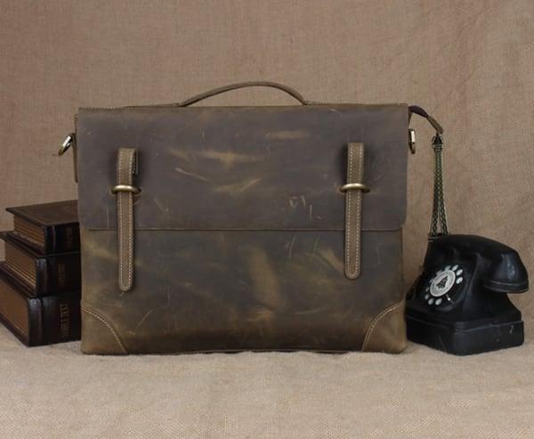 """Image of Vintage Handmade Crazy Horse Leather Briefcase Messenger 13"""" 14"""" Laptop 13"""" 15"""" MacBook Bag (n04-3)"""