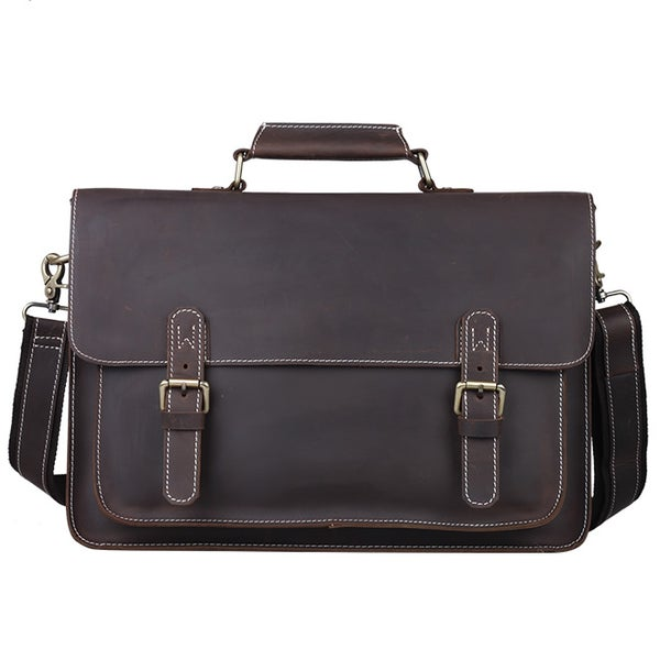 "Image of Vintage Handmade Antique Leather Briefcase Messenger 13"" 15"" MacBook 13"" 14"" 15"" Laptop Bag (n29D)"