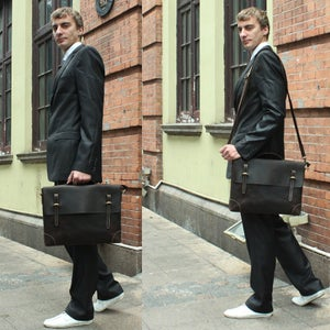 "Image of Vintage Handmade Crazy Horse Leather Briefcase Messenger 13"" 14"" Laptop 13"" 15"" MacBook Bag (n04)"