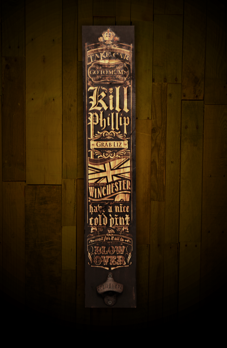 Image of Don't Say the Zed Word wall plank with built in bottle opener