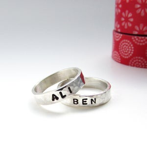 Image of Silver Stacker Name Ring