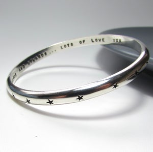 Image of Heavy Sterling Silver Star Bangle