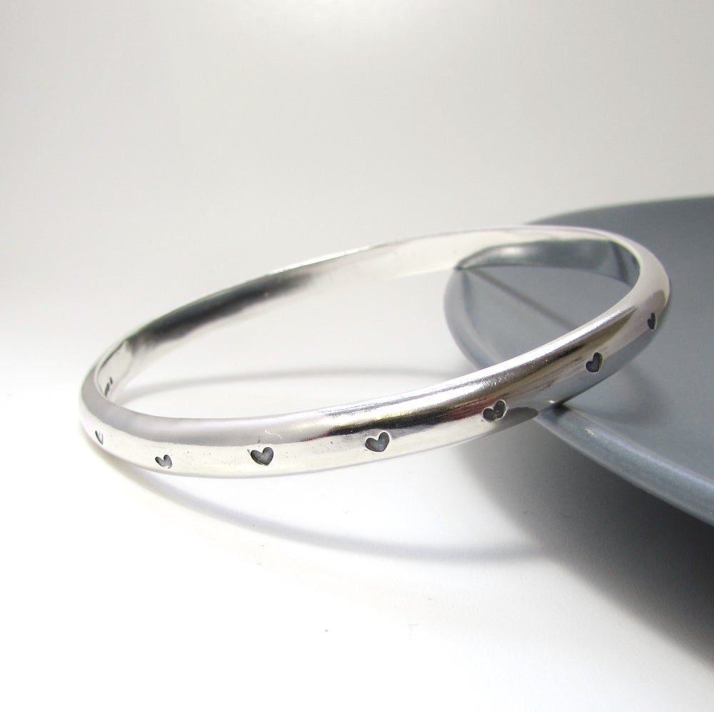 deaba9367c734 Heavy Sterling Silver Heart Bangle