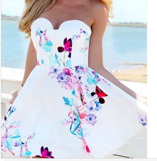 Image of HOT STRAPLESS FLOWER DRESS ELEGANT