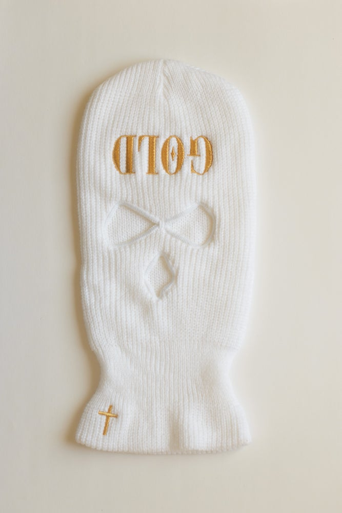 Image of GOLD Ski Mask - White