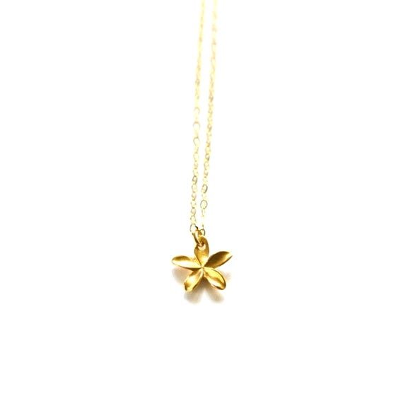 Image of Tiny gold plumeria necklace