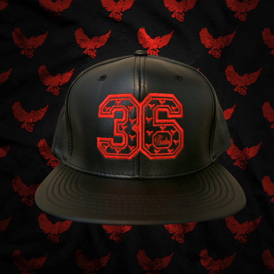 Image of Black/Red Leather 36 Snapback