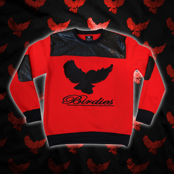 Image of Black/Red Cut & Sew Quilted Crewneck