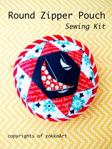 Image of Round Zipper Pouch Sewing Kit - Daysail
