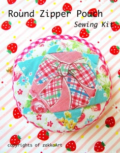 Image of Round Zipper Pouch - Ribbon
