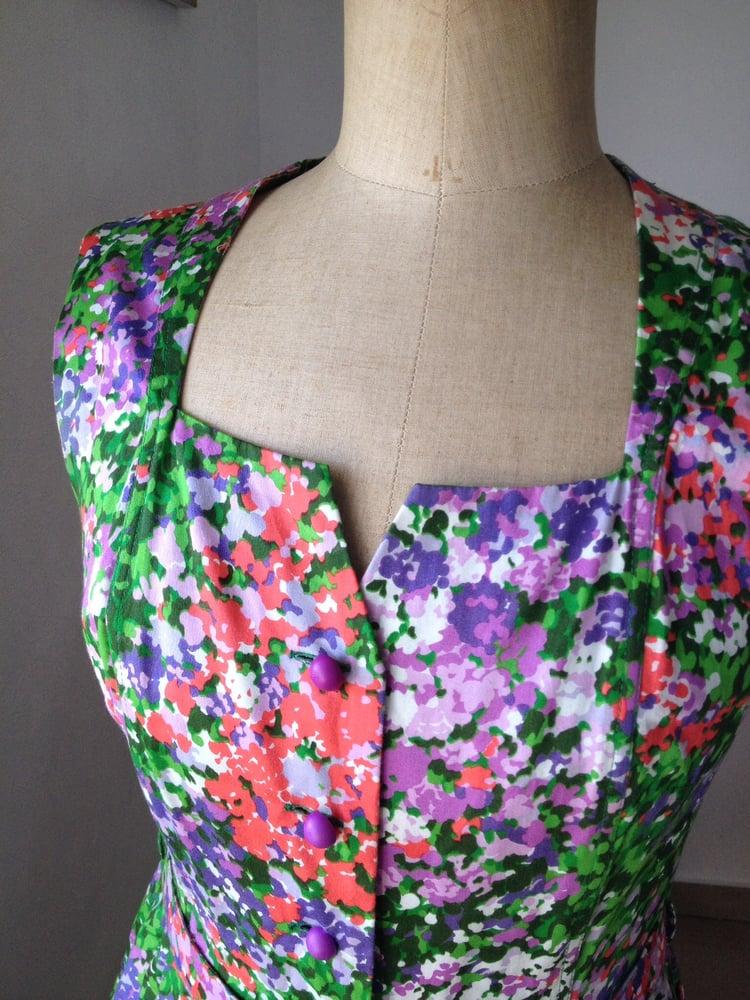 Image of Belle robe d été 50' en coton fleuri