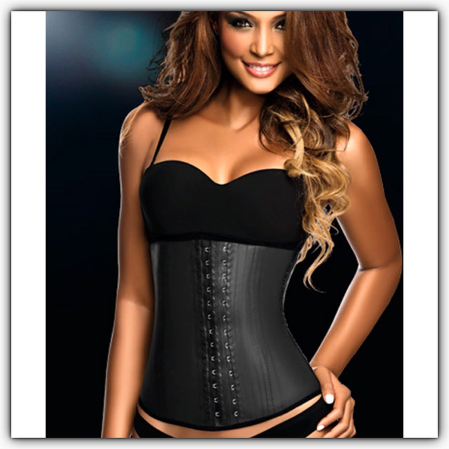 Image of Ann Chery 2 HOOK  Black Latex Waist Trainer ( The Hour Glass)