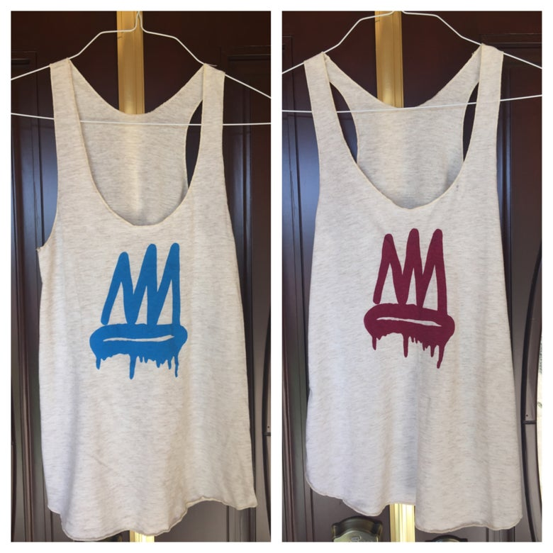 Image of Oatmeal and Burgundy/Blue Tri-Blend Racerback Crown Tank