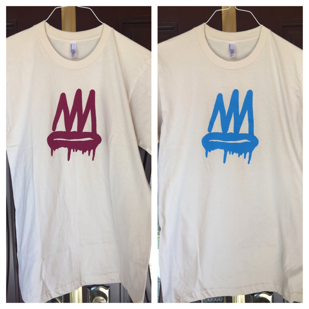 Image of Cream and Burgundy/ Blue Crown Tee (Mens/Womens)