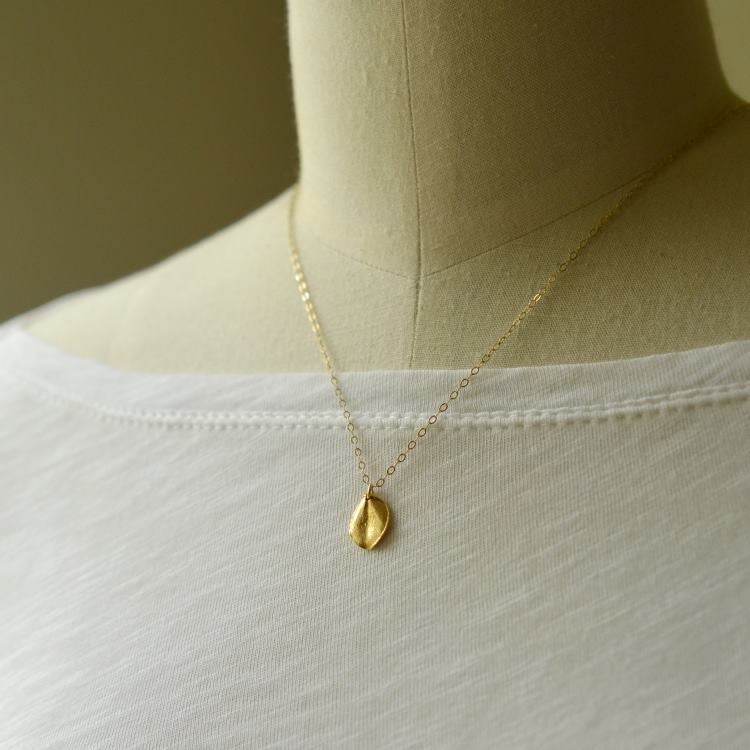 Image of Tiny gold ohi'a leaf necklace