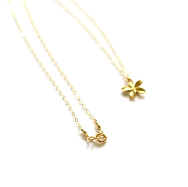Image of Tiny gold plumeria necklace