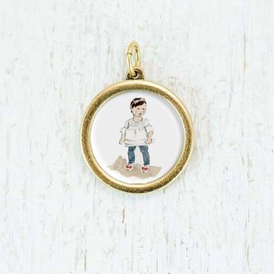 Image of Custom Necklaces: Medium Framed Circle Pendant
