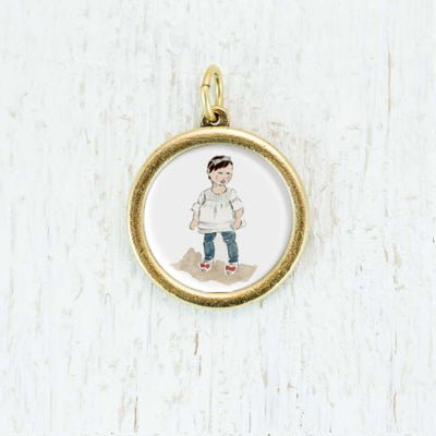 Image of Custom Necklaces: Medium Framed Circle Pendant