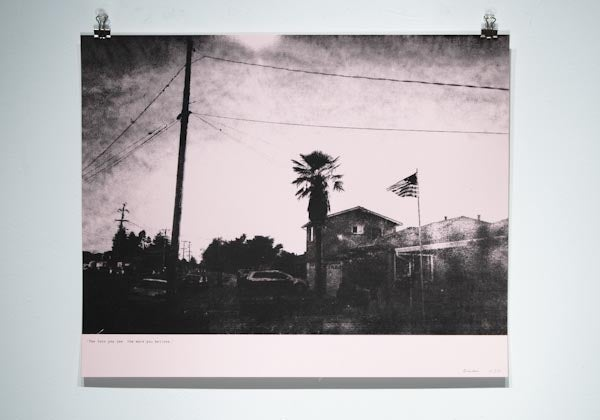 "Image of ""The Less You See…"" #1 [Power pole, palm, and flag]"