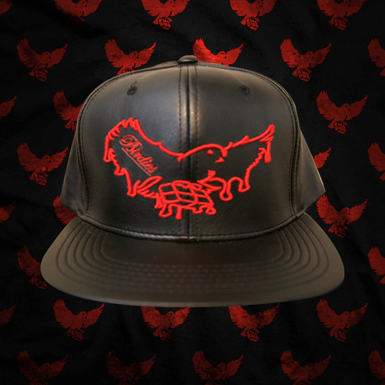 Image of Black/Red Dripping Leather Snapback
