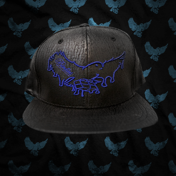Image of Black/Blue Dripping Cracked Leather Snapback