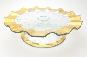 Image of Gold Ruffled Pedestal Cake Stand
