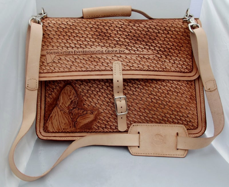 Image of Custom Hand Tooled Briefcase. Computer, laptop, tablet case. Your image/design or idea.