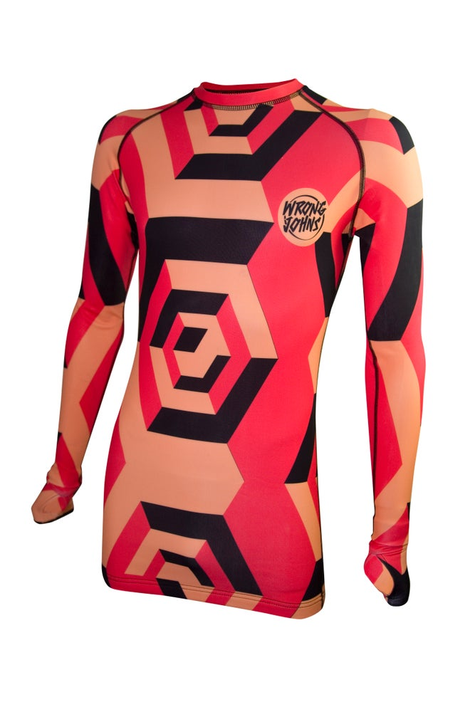 Image of Mens Orange/Black/Red Cubes Thermal Top