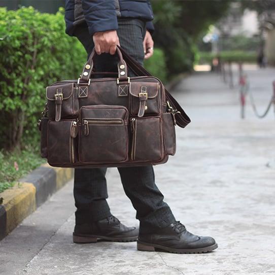 Image of Vintage Handmade Antique Leather Business Travel Bag / Messenger / Duffle Bag / Weekend Bag (n62-6)