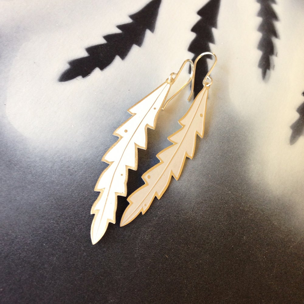 Image of LEAF EARRING: BANKSIA (COLOURED METALS)