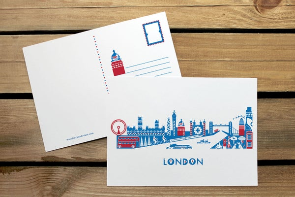 Image of London skyline postcard or mini print set