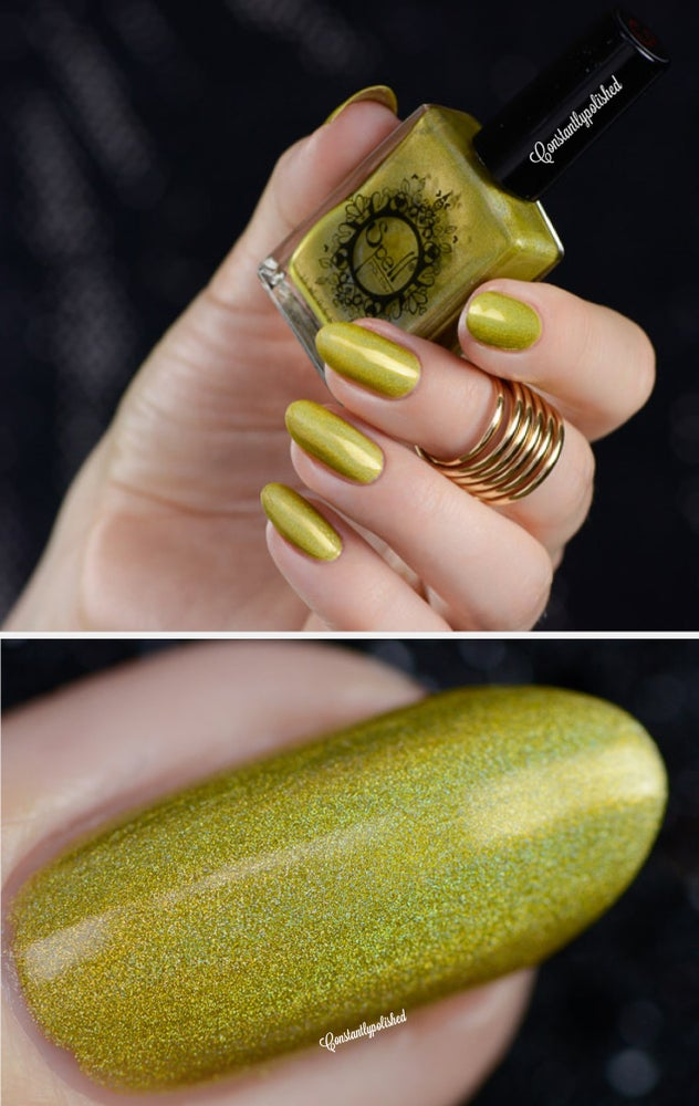 "Image of ~Dropping Daisies~ mustard yellow linear holo nail polish ""Charlie Loves Bella"" Spell Polish!"