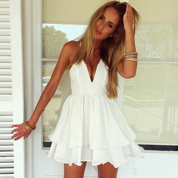 Image of FRESH SEXY FLOWER WHITE DRESS HIGH QUALITY
